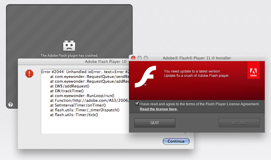 Crashed Flash plug-in graphic
