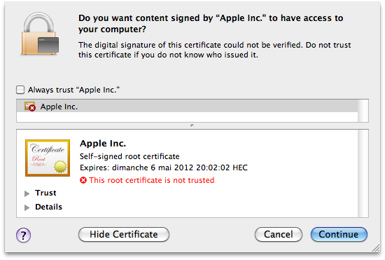 Flashback Apple certificaat