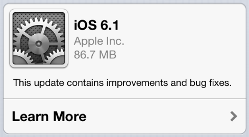 Apple iOS 6.1 contains bug fixes and feature improvements