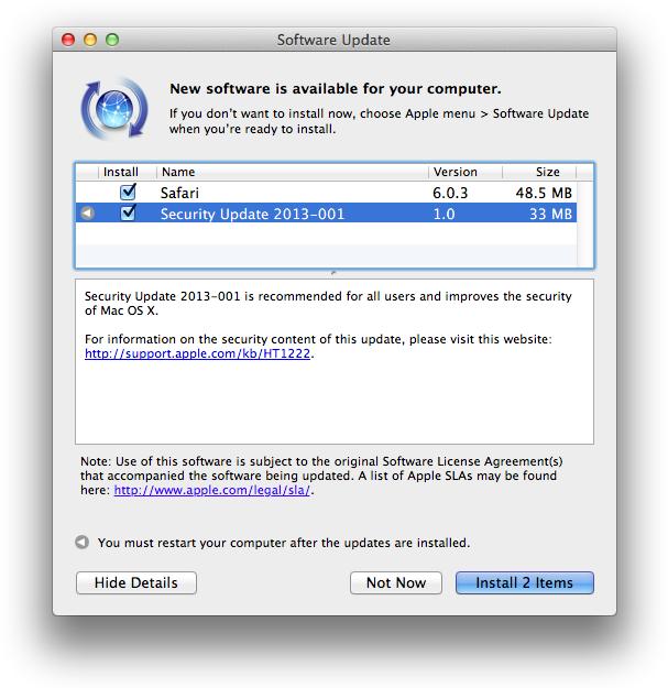 Security Update 2013-001 software update notice