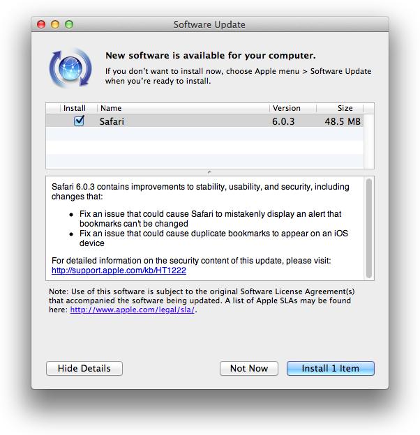Safari 6.0.3 security updates resolve WebKit flaws