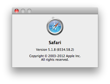 Safari 5.1.8 Screenshot