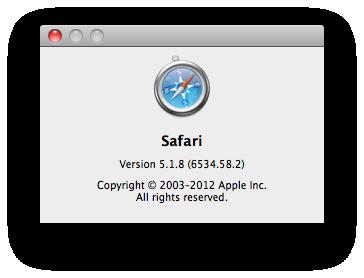 Safari 5.1.8 Screenshot