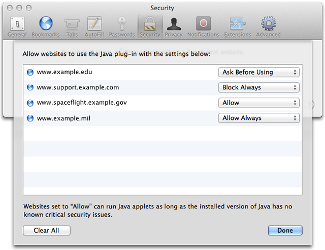 Apple Safari Now Offers Per-Site Java Enabling | The Mac