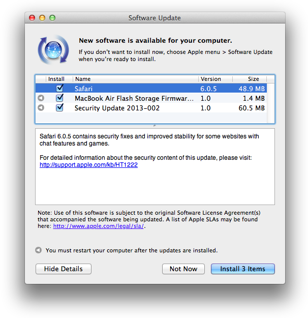 Safari 6.0.5 update