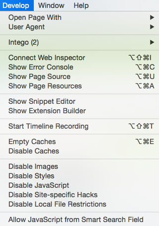 Safari Develop menu - Empty Caches