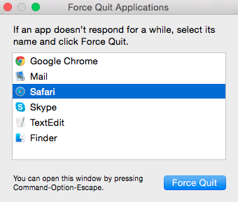 Force Quite Safari application