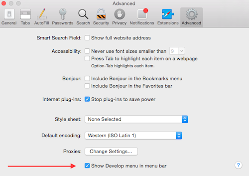 Safari Advanced Preferences - Show Develop menu in menu bar