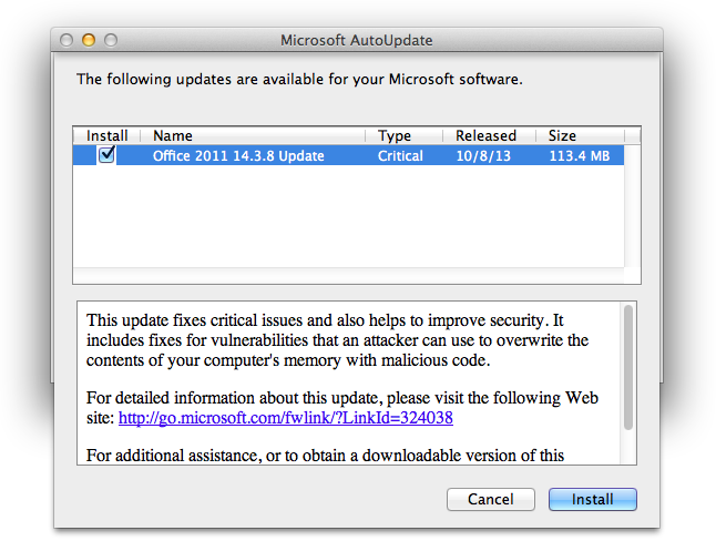 Microsoft AutoUpdate window for Office 2011 14.3.8 Update