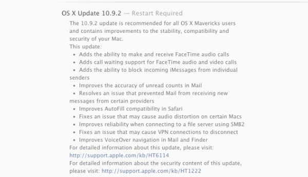 Mac OS X 10.9.2 update