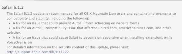 Safari 6.1.2 update notice