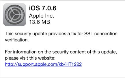 iOS 7.0.6 update notice