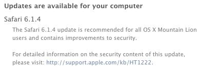 Safari 6.1.4 update notice