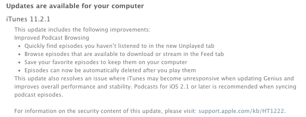 iTunes 11.2.1 update notice