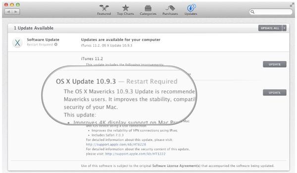 Mac OS  X 10.9.3 update
