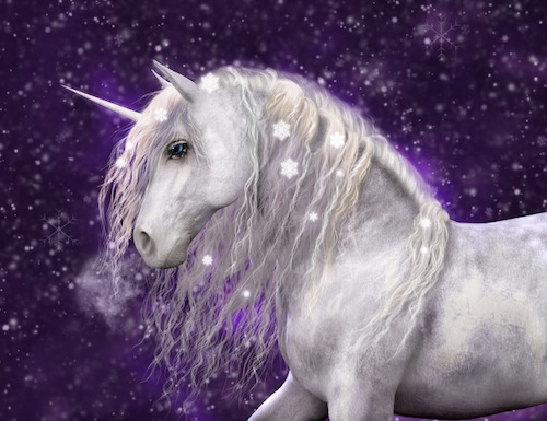 Snow Unicorn with Purple Background