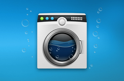 Mac Cleaner - Mac Washing Machine on water background