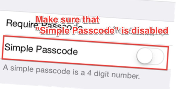 Disable simple passcode