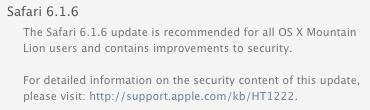 Safari web browser update
