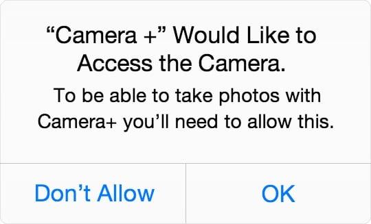 iOS camera permission