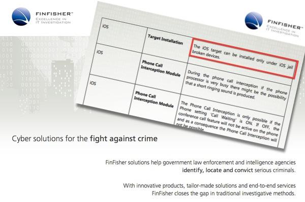 FinFisher requires jailbroken iPhones