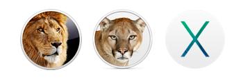 OS X Lion Mountain Lion Mavericks logos