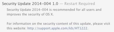OS X Mavericks 10.9.5 Security Update 2014-004