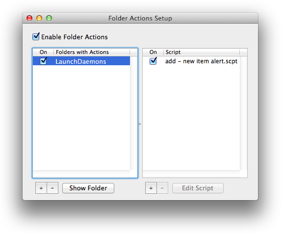 Enable Folder Actions