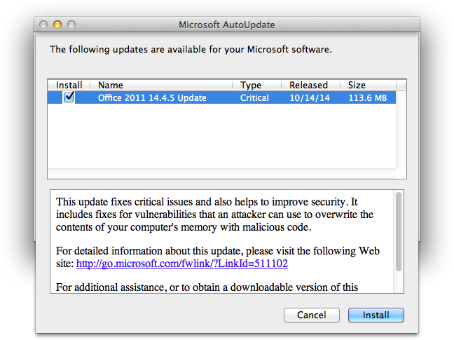 Microsoft Office for Mac 2011 14 4 5 Update Patches a