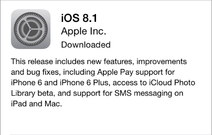 iOS 8.1 update notice