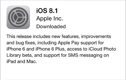 iOS 8.1 update notice