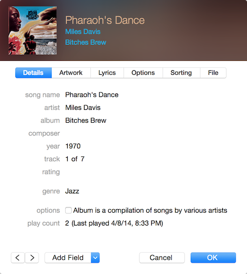 iTunes 12 new Info window