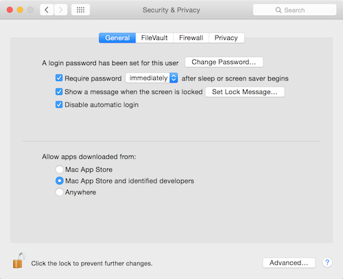 OS X Yosemite Security & Privacy settings