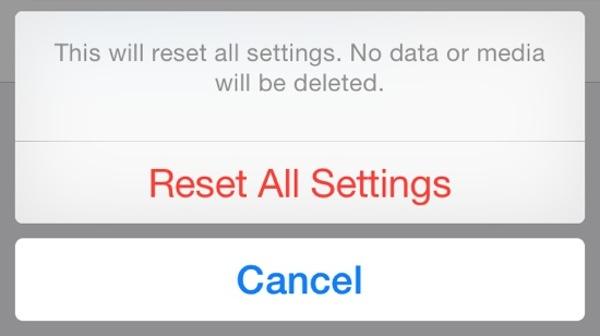 Reset All Settings option