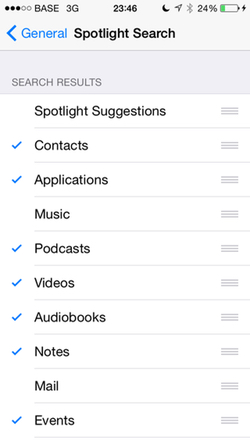 Spotlight preferences on iOS