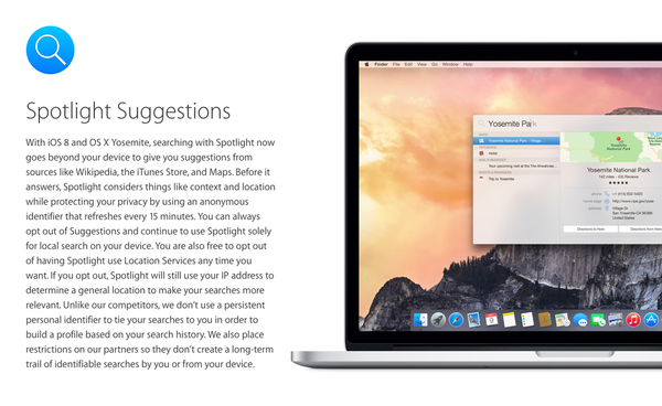 Apple talks Spotlight privacy
