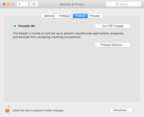 Yosemite Firewall preferences