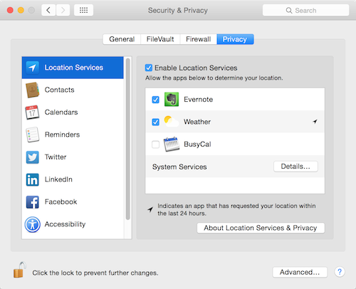OS X Yosemite Privacy settings