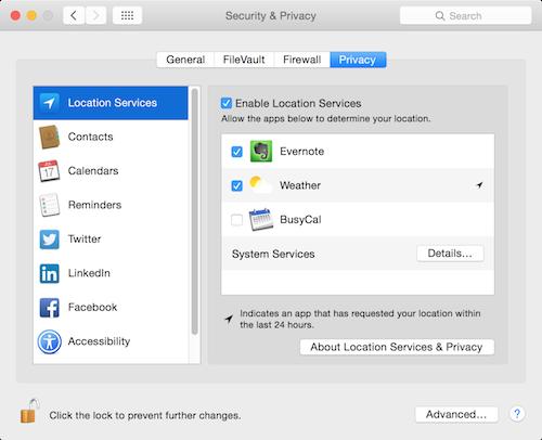 OS X Yosemite Privacy settings