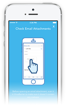 VirusBarrier iOS check email attachments screenshot