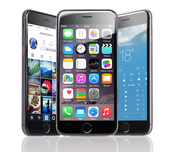 Apple iPhones 6 with various applications displayed over white background
