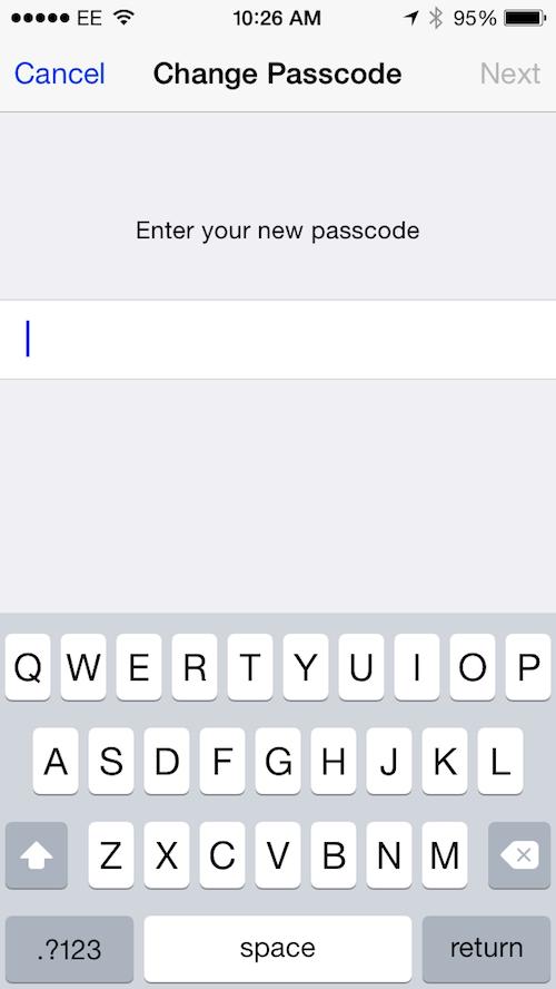 set up a long passcode