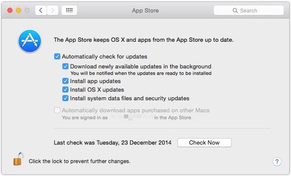 App Store preference pane