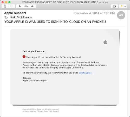 phishing email Apple iCloud