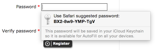 Safari suggested password