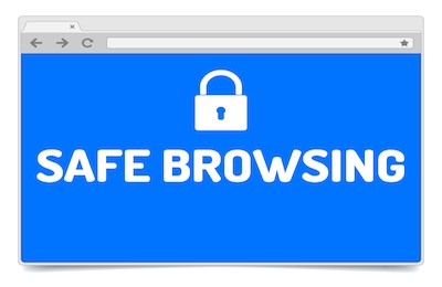 Safe browsing - opened internet browser window on white background with shadow. Isolated browser template.