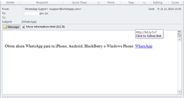 Malicious email, pretending to be from WhatsApp