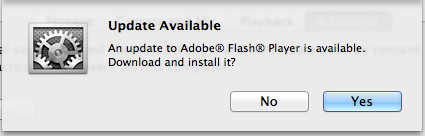 Adobe Flash Player update available notice