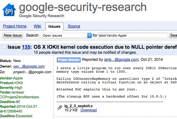 Google discloses security vulnerabilities in OS X