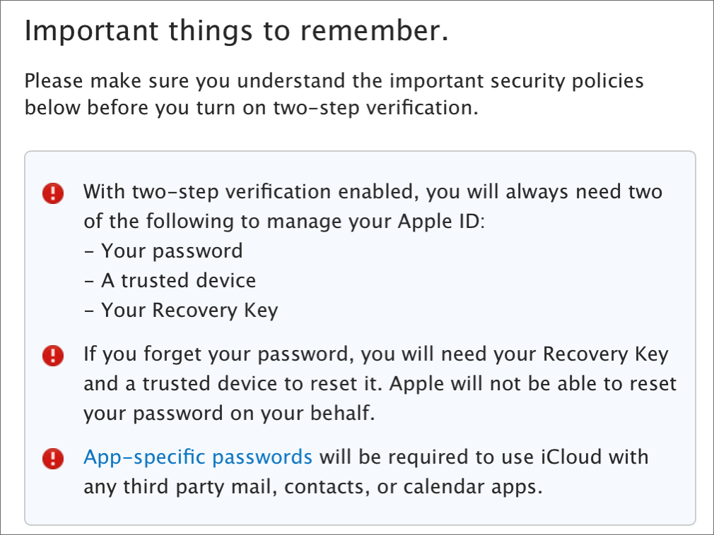 understand security policies before you turn on two-step verification